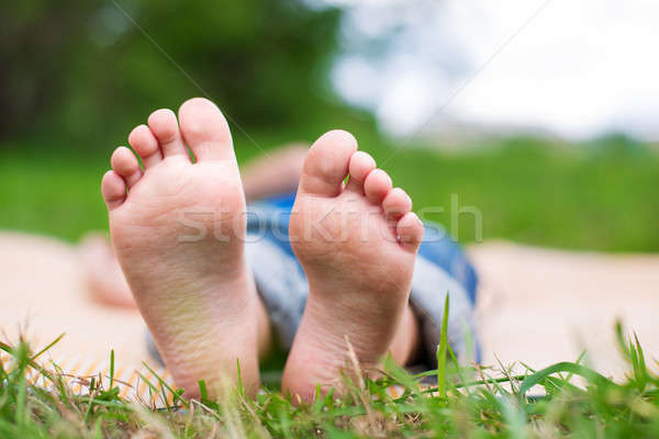 Two Child's foots Stock photo © Agatalina