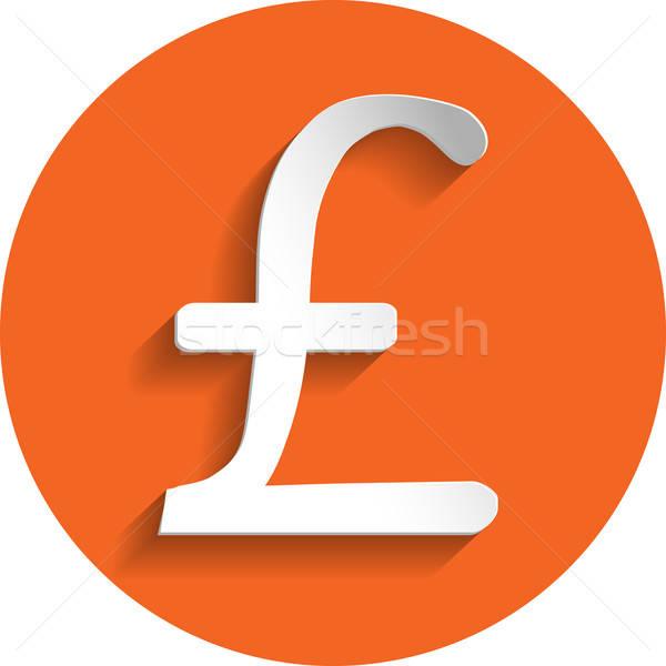 Pound icon, paper style Stock photo © Agatalina