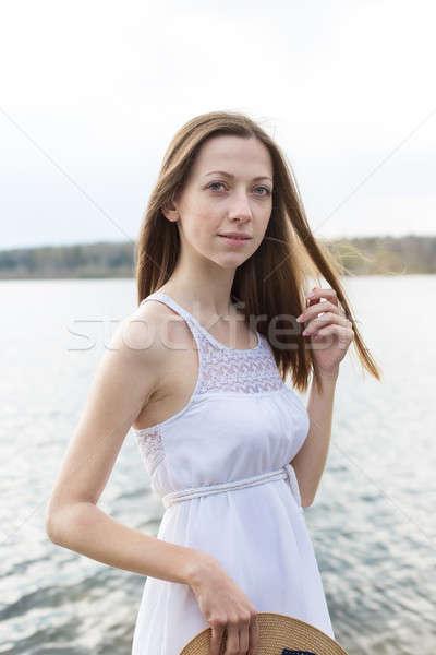 そばかすのある 幸せ 女の子 肖像 幸せな女の子 白いドレス ストックフォト © Agatalina