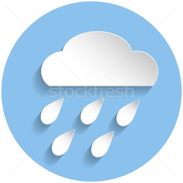 Raining cloud icon, paper style Stock photo © Agatalina