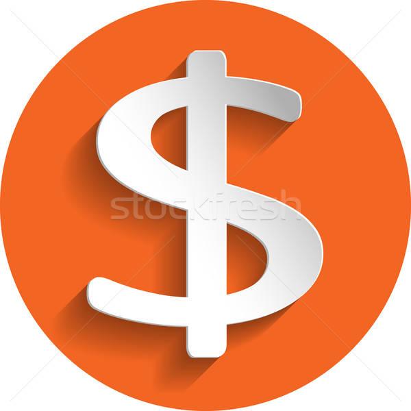 доллара икона бумаги стиль изолированный оранжевый Сток-фото © Agatalina