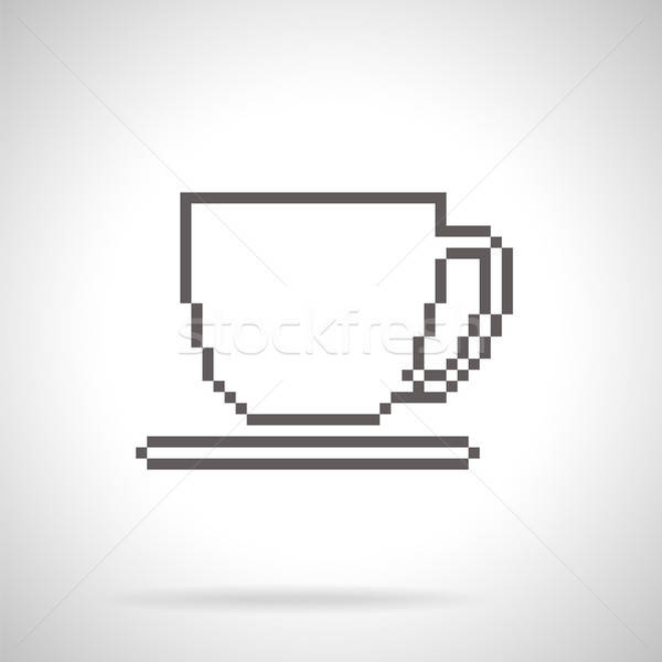 Cup and saucer icon, pixel art style Stock photo © Agatalina