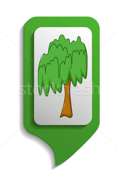 Map sign willow tree icon, cartoon style Stock photo © Agatalina