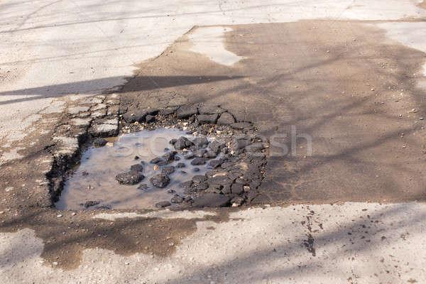 Broken asphalt on the road Stock photo © Agatalina
