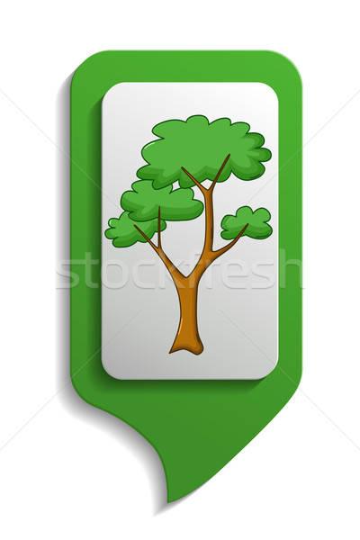 Map sign savanna tree icon, cartoon style Stock photo © Agatalina
