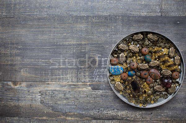 Küçük boncuk ahşap kalay moda Stok fotoğraf © Agatalina