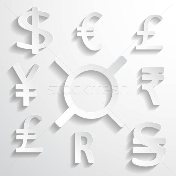 белый бумажные деньги признаков вектора отдельный Элементы Сток-фото © Agatalina