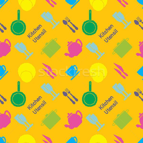Pixel art kitchen utensil pattern Stock photo © Agatalina