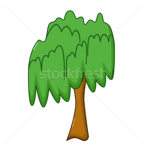 Stock photo: Willow tree icon, cartoon style
