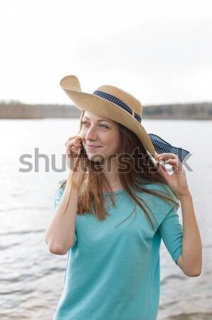 そばかすのある 少女 見える カメラ 眼鏡 ストックフォト © Agatalina