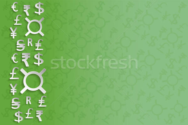 White Paper Currency Signs on green background Stock photo © Agatalina