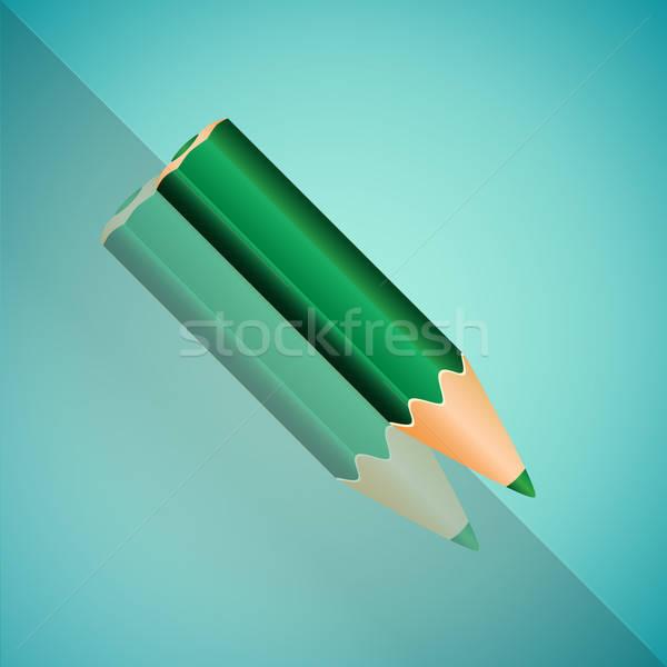 зеленый карандашом зеркало тень синий Сток-фото © Agatalina