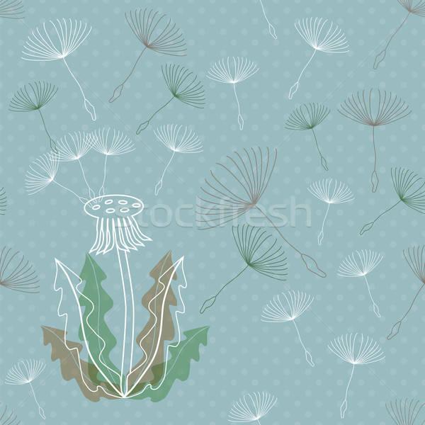 Dandelion włókienniczych moda liści niebieski Zdjęcia stock © Agatalina