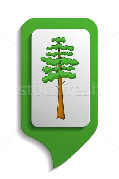 Map sign pine tree icon, cartoon style Stock photo © Agatalina
