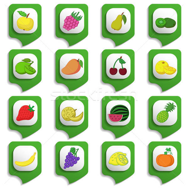 Stock photo: Fruits and vegetables icon set