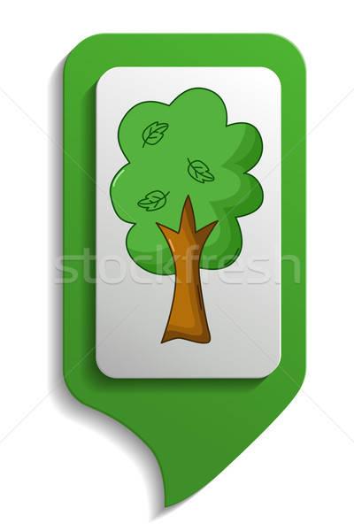 Map sign tree icon, cartoon style Stock photo © Agatalina
