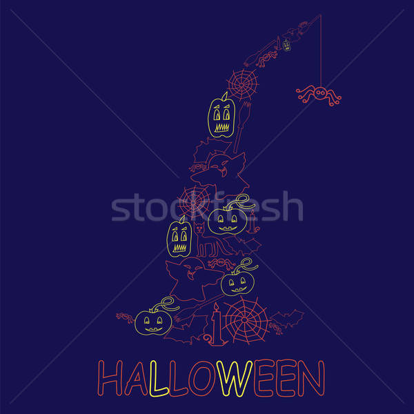 Halloween design from stroke elements Stock photo © Agatalina