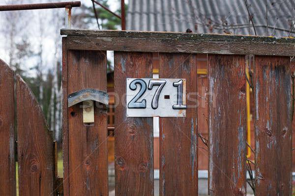 числа дома сельский прилагается коричневый забор Сток-фото © Agatalina