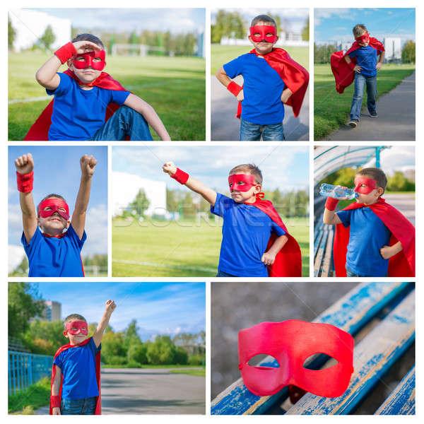 写真 コラージュ スーパーヒーロー 少年 マスク セット ストックフォト © Agatalina