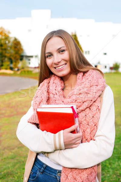 студент шарф Постоянный здании трава Сток-фото © Agatalina