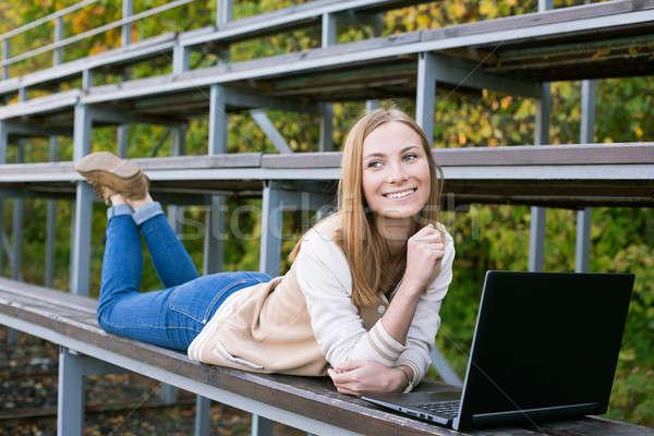Estudiante deporte sonriendo belleza educación Foto stock © Agatalina