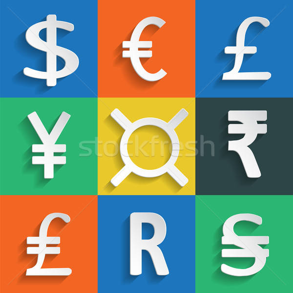White Paper Currency Signs on colored background Stock photo © Agatalina
