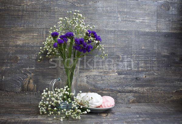 цветы ваза блюдце древесины цветок продовольствие Сток-фото © Agatalina