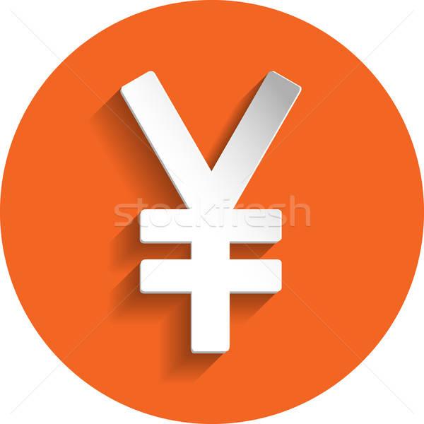Yen icona carta stile isolato arancione Foto d'archivio © Agatalina