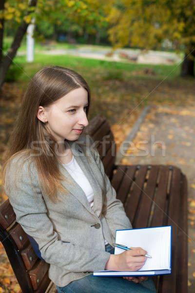 студент Дать ноутбук мышления книга Сток-фото © Agatalina