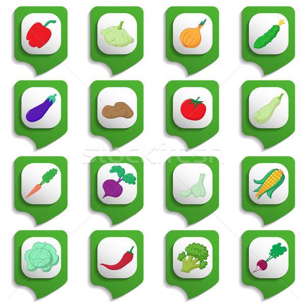 Raw vegetables icon set Stock photo © Agatalina
