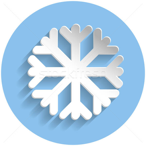 Snowflake icon, paper style Stock photo © Agatalina
