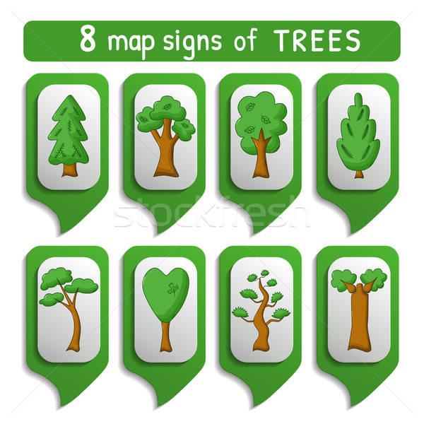 Map sign trees set Stock photo © Agatalina