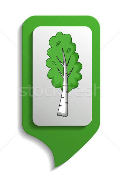 Mapa signo abedul árbol icono Cartoon Foto stock © Agatalina