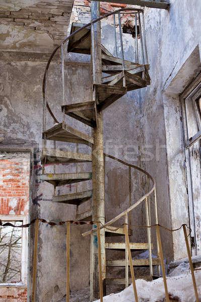 Starych schody opuszczony metal miejskich Zdjęcia stock © Agatalina