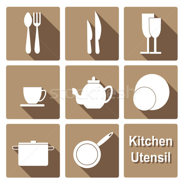 Icons set of kitchen utensil in flat design style Stock photo © Agatalina