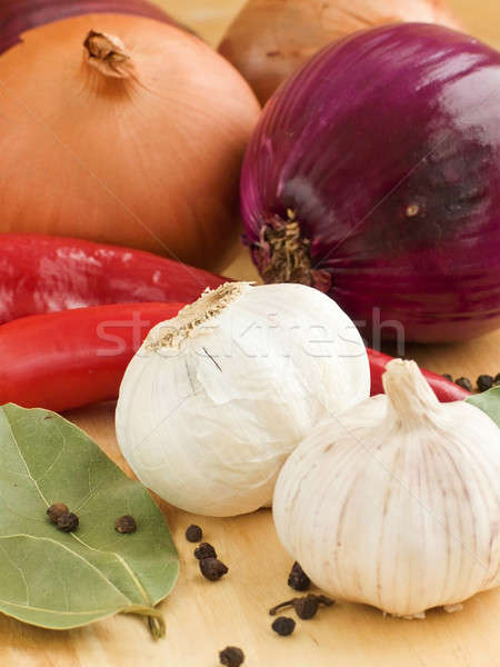 Aromático ingredientes ajo cebolla chile especias Foto stock © AGfoto