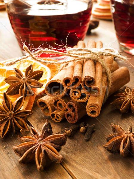 Christmas przyprawy anyż cynamonu suszy pomarańcze Zdjęcia stock © AGfoto