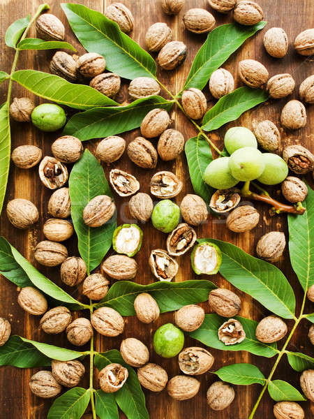 Walnuts on wood Stock photo © AGfoto
