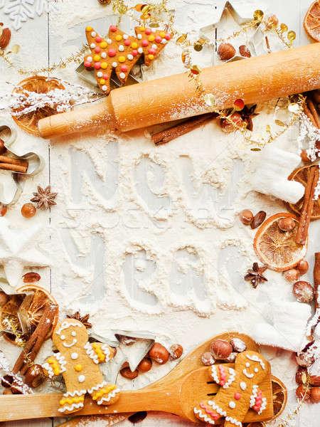 Natale cottura cookie spezie sfondo metal Foto d'archivio © AGfoto