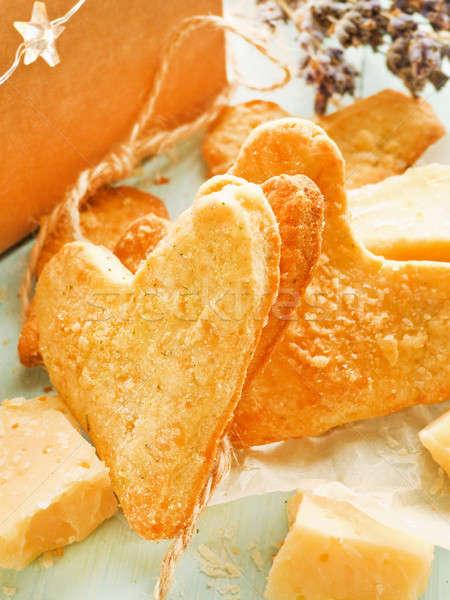 Parmesano corazón cookies delicioso italiano hierbas Foto stock © AGfoto