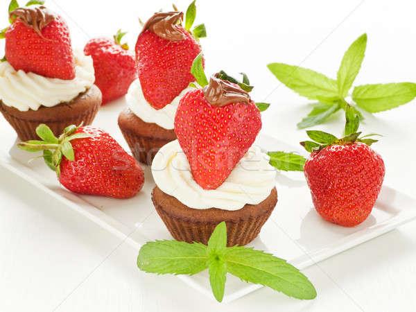 Eper minitorták csokoládé eprek tejszínhab sekély Stock fotó © AGfoto
