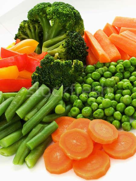 Sebze plaka taze sağlıklı sığ Stok fotoğraf © AGfoto