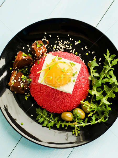 риса Тофу яйцо желток пластина свинина Сток-фото © AGfoto