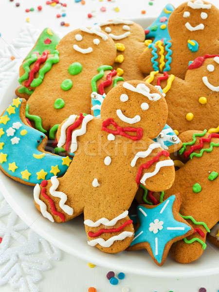 Zencefilli çörek kurabiye ev yapımı renkli buzlanma sığ Stok fotoğraf © AGfoto