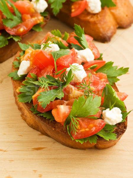 Bruschetta tomates cherry requesón perejil superficial Foto stock © AGfoto