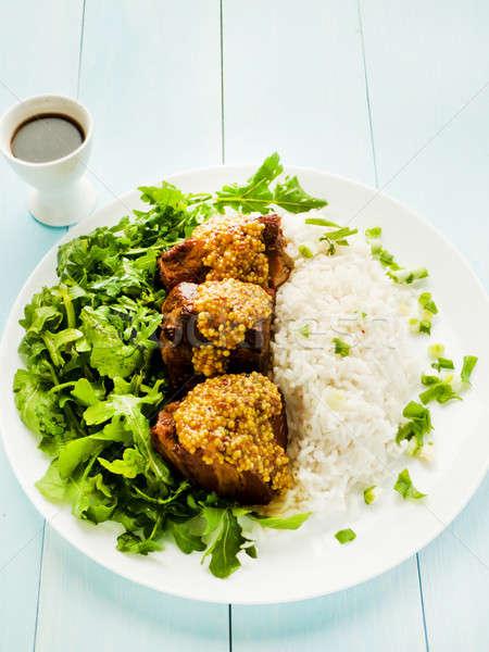 豚肉 リブ コメ プレート サラダ 浅い ストックフォト © AGfoto