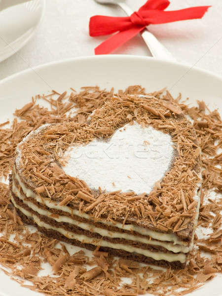 Cake plaat zoete chocolade ondiep Stockfoto © AGfoto