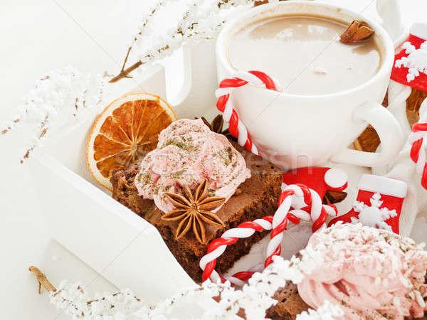 Karácsony harapnivalók forró tej csokoládé kókusz Stock fotó © AGfoto
