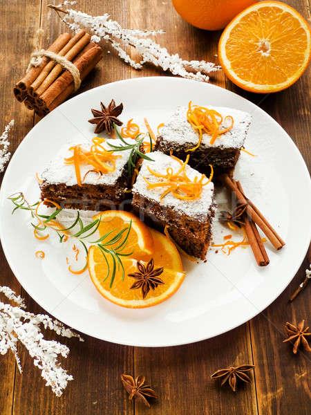 Noel tatlı ekşi krema sığ gıda Stok fotoğraf © AGfoto