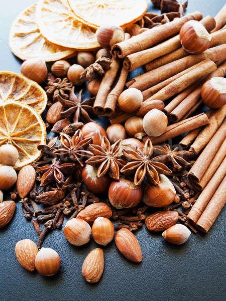 Stock foto: Weihnachten · aromatischen · Gewürze · unterschiedlich · schwarz · seicht